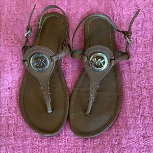Michael Kors Brown Gold Logo Gladiator Sandals 6.5